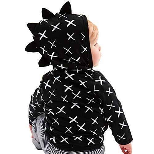 Colorfog Infant Toddler Baby Hoodie Shirts Jacket Cute Dinosaur Cross Pattern Kids Zipper Black Tops (18-24 -