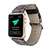 Apple watch cotton linen watch strap genuine leather strap for iwatch 1,2,3 white2 42mm