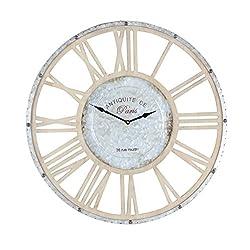 Deco 79 84213 Metal and Wood Wall Clock, 24, LightGray/Lightbrown/Black