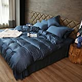 Quilt cover Sheets personality Jane Europe Four-piece set stripe Navy blue cotton Washed Comfortable Deep sleep