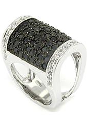 Fold-over Large Cocktail Ring w/pav?Black & White CZs