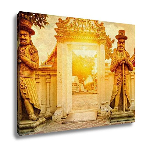 Ashley Canvas Classical Thai Architecture In Wat Pho Bangkok Thailand Wall Art Decor Stretched Gallery Wrap Giclee Print Ready to Hang Kitchen living room home office, 24x30 by Ashley Canvas