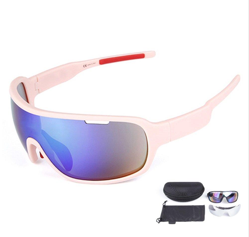Lorsoul 偏光スポーツ サイクリング サングラス バイク 眼鏡 メンズ レディース ランニング ドライビング 釣り ゴルフ 野球 レーシング スキー ゴーグル  ピンク B0761NBDHJ