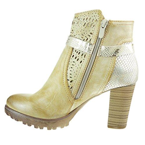 Angkorly - Zapatillas de Moda Botines cavalier elegante zapatillas de plataforma mujer piel de serpiente perforado tanga Talón Tacón ancho alto 8 CM - Camel