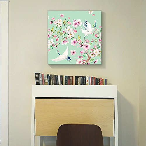 Square Light Green Watercolor Style Painting of a Two Cranes and Blooming Tree Branch