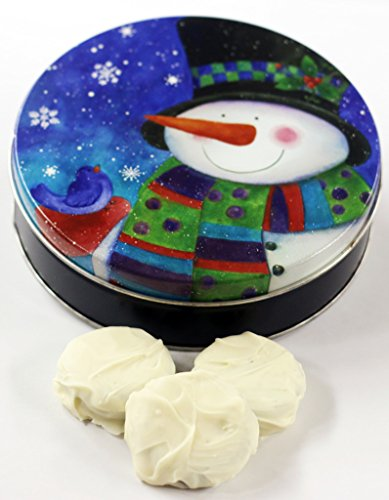 Cookie Snowman Tin (Scott's Cakes White Chocolate Covered Cool Mint Oreos in a Mini Top Hat Snowman Tin)