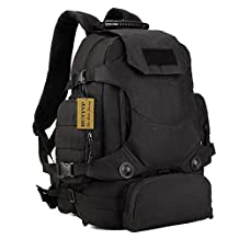 Protector Plus MOLLE Tactical Military Backpack Assault 3 Way Water-resistant Hiking Daypack/Camping Backpck/Travel Daypack/Casual Backpack (40L, Black)
