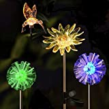 OrgMemory Solar Garden Stakes, Multi-Color Changing Solar Stake Lights, 4 Pack Waterproof Landscape Lighting, Dandelion Hummingbird and Sunflower for Outdoor Decorative