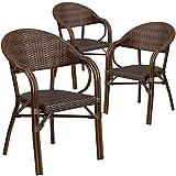 Cheap Flash Furniture 3 Pk. Milano Series Bark Brown Rattan Restaurant Patio Chair with Bamboo-Aluminum Frame
