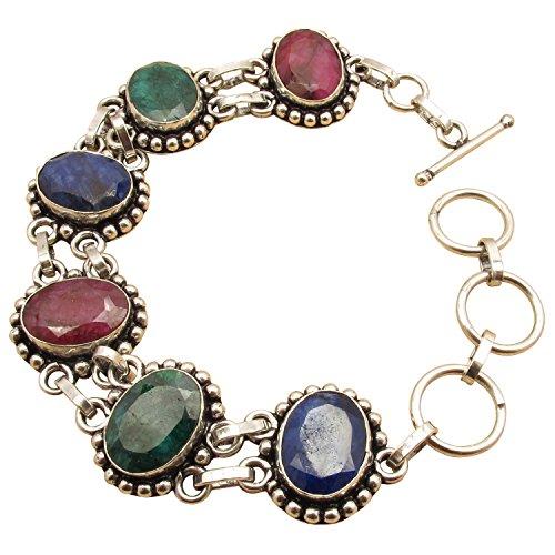 Natural RUBY EMERALD SAPPHIRE Bracelet 21.3 cm ! 925 Sterling Silver Plated Affordable ART - Emerald Ruby Bracelet Sapphire