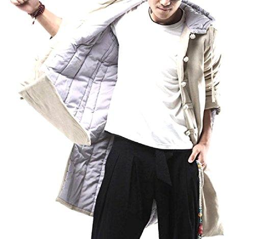 Sheng Xi Men Chinese Style Tai Chi Cotton Linen Winter Warm Overcoat Khaki L Coated Cotton Linen Jacket