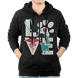 Men's Zip-Up Hoodie Sweatshirt Veterinarian Love Cat And Dog Veterinary Fleece Hoodie Jackets