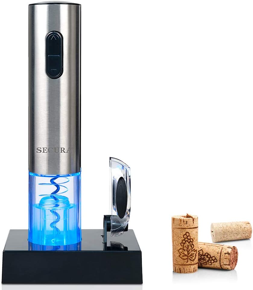 Secura Electric Wine Opener, Automatic Electric Wine Bottle Corkscrew Opener with Foil Cutter, Rechargeable (Blue & Red Light)