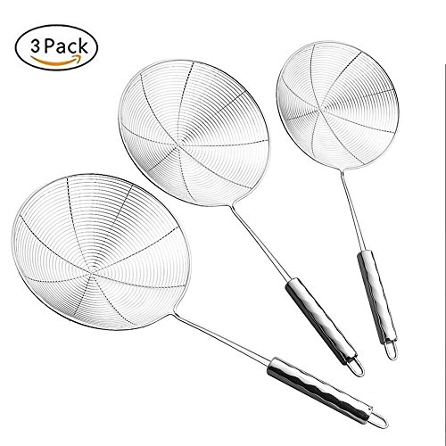 JHM Set of 3 Stainless Steel Skimmer Strainer, 14.8, 15.6 & 16.4 Inches, Spiral Mesh Oil Skimmer Ladle Colander for paetzle/Pasta/Chips