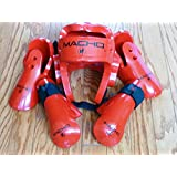 Macho Dyna Sparring Gear Karate TaeKwonDo TKD - Red 5pc Set (Head (Large) - Punch and Kick (Medium))