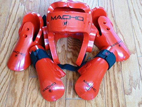 - Macho Dyna Sparring Gear Karate TaeKwonDo TKD - Red 5pc Set (Head (Large) - Punch and Kick (Medium))