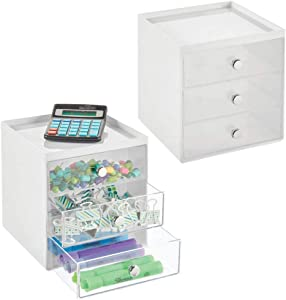 mDesign Plastic Home Office Desk Organizer Storage Station - Holds Gel Pens, Erasers, Tape, Push Pins, Pencils, Markers - Compact, Space Saving - 3 Drawers - 2 Pack - White/Clear