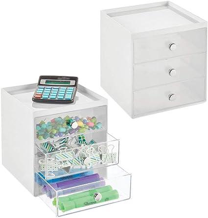 kompakte Schubladenbox aus Kunststoff f/ür den Schreibtisch 2er-Set MDESIGN Schreibtisch Organizer mit 3 Schubladen Ablagef/ächer f/ür Stifte Notizzettel usw schwarz und durchsichtig