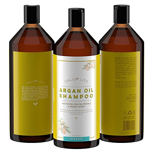 Calily Life Organic Moroccan Argan Oil Shampoo + Conditioner with Dead Sea Minerals, Duo Set, 33. 8 Fl Oz. Each -Transforms Hair to be Softer, Silkier & Shinier -Powerful & Deep Penetration [ENHANCED]