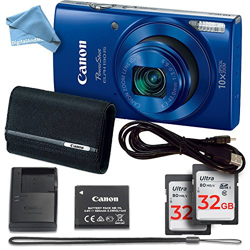 Canon PowerShot ELPH 190 Digital Camera (Blue) TWO 32GB Memory Cards + CANON PSC-2070 CASE + USB Cable + Canon Charger & Canon Battery, Strap + DigitalAndMore Microfiber Cloth (Professional (Battery Charger Cable Case)