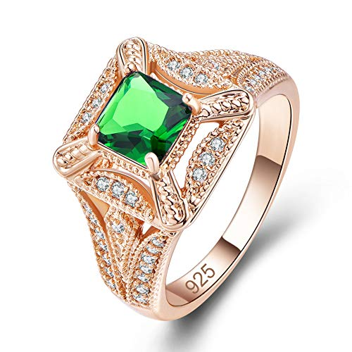 Humasol Yellow Gold Plated Lab-Created Emerald Vintage Statement Ring Band for Women ()