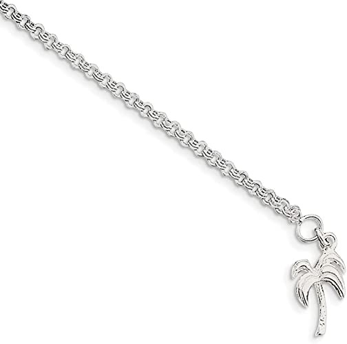 Sterling Silver Palm Tree Anklet 9 Inches