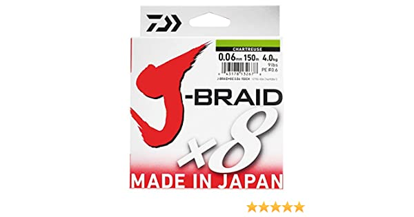 Daiwa J Braid-Hilo trenzado, 8 hebras, 500 m, color verde, 42/100 ...
