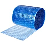 "UBOXES Small Bubble Cushioning Wrap 60' 3/16"", Bubble Roll 12"" Wide, Perforated Every 12"", BLUE"