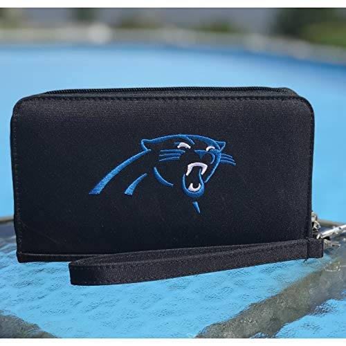 NFL Carolina Panthers Womens Deluxe Cell Phone Wallet with Embroidered Logo- Fits All Phones by Little Earth (Carolina Panthers Embroidered Wallet)