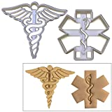 SET of 2 cookie cutters (Caduceus and Emergency Medical Services (EMS) Sign cookie cutters), 2 pcs, Ideal for Medical themed party