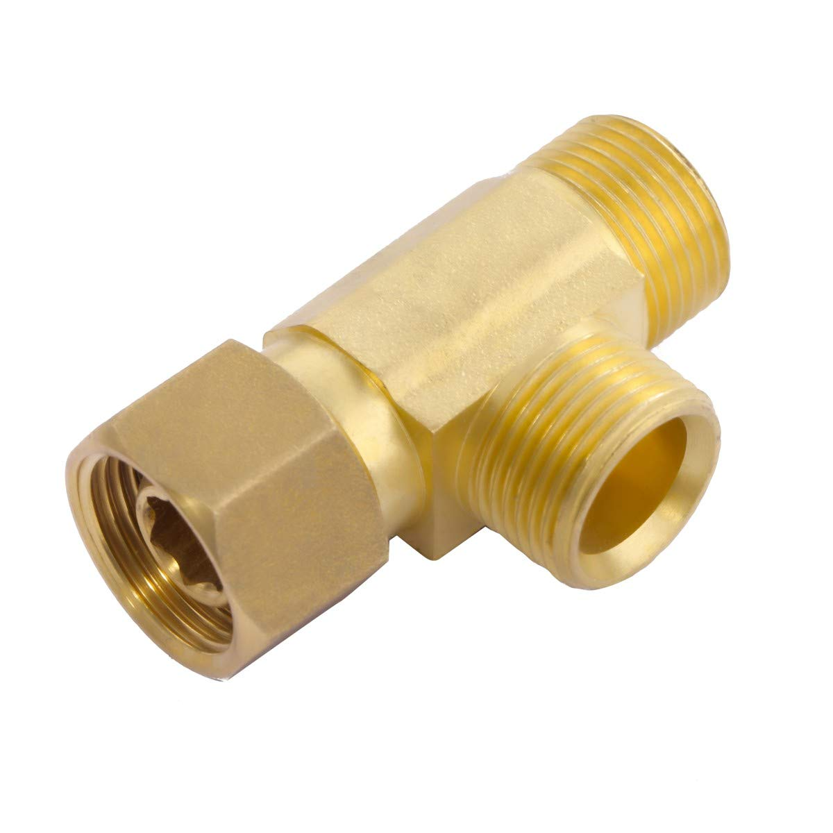 "Litorange Lead Free 2 PCS Brass Angle Stop Add-A-Tee Valve 3/8"" Compression Inlet by 3/8"" Compression Outlet by 3/8 Inch Compression Outlet Easy Connect Tee"