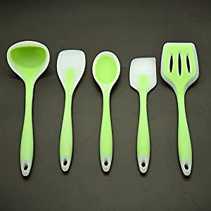 5 Piece Silicone Kitchen Cooking Utensil Set, Heat Resistant up to 480 F , Dishwasher Safe, Including-spatula, Ladle, Slotted Turner, Mixing Spoon, Spoonula,