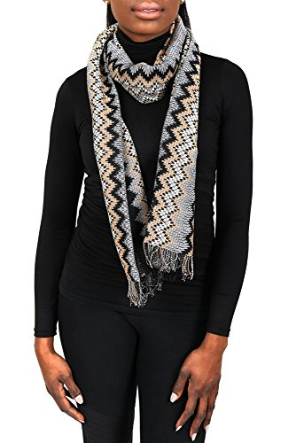Missoni SC31PSD5928 0004 Grey/Tan Wool Blend Womens Scarf