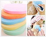 3PCS Natural Cellulose Compressed Essential BIG Oval Shape Soft Powder Puff Make Up Cosmetic Facial Cleansing Exfoliating Sponge Puff Makeup Buffer Remover Bathing Face Blemish Acne Body Scrub Wash Clean Skin Care Pad Tool Salon Spa Home Use in Retail Packaging (Cleansing Sponge)