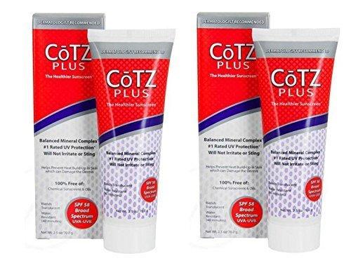 Fallene Cotz Plus SPF 58 Water Resistant UVB/UVA Sunscreen for Sensitive Skin, 2.5-Ounce Tube (Set of 2)
