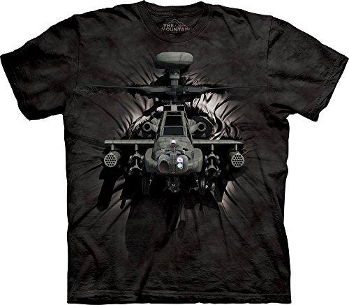 The Mountain Men's Apache Breakthrough T-Shirt, Black, (Army Apache Helicopter)