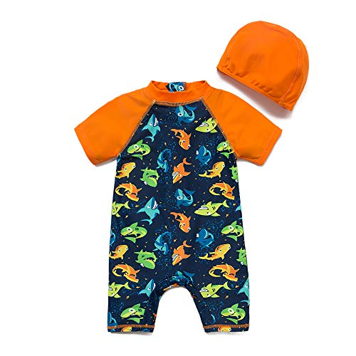 upandfast Kids One Piece Zip Sunsuit with Sun Hat UPF 50+ Sun Protection Baby Beach Swimsuit (Shark, 24-36 Months)
