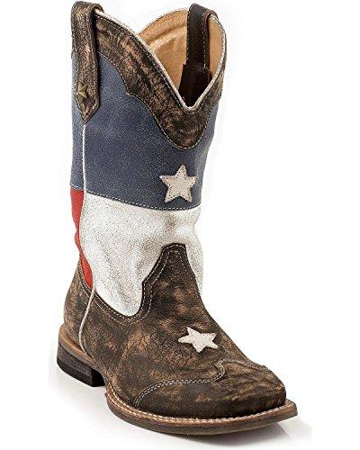 Roper Texas Star Square Toe Cowboy Boot (Toddler/Little Kid), Brown, 11 M US Little Kid (Roper Stars)