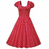 Samtree Womens 1950s Style Short Sleeve Vintage Floral Polka Dot Swing Dress(Asia M,Red)