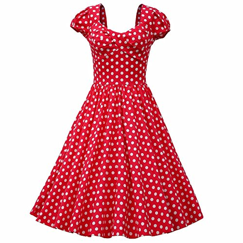 Swing Costumes (Samtree Womens 1950s Style Square Neck Short Sleeve Rockabilly Swing Vintage Polka Dot Dress(Asia XXL fit US 14,Red))