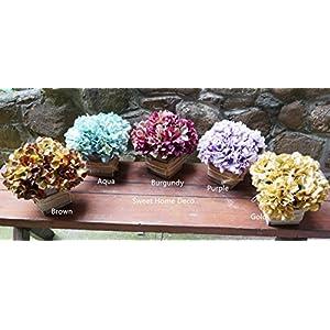 Sweet Home Deco 8'' Silk HydrangeaFlower Arrangement w/Wood Vase Wedding Home Decorations for Fall/Winter 42