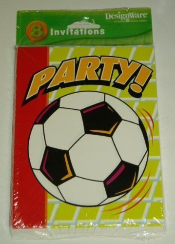 Soccer Party Invitations 8 Count Cards & Envelopes - For Team Party / Birthday Party/ Season End / or Pizza Party by Designware