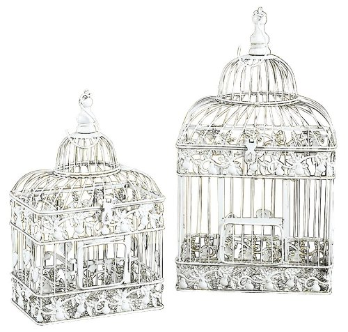 Deco 79 82676 2-Piece Metal Square Bird Cage Set UMA Enterprises - LG