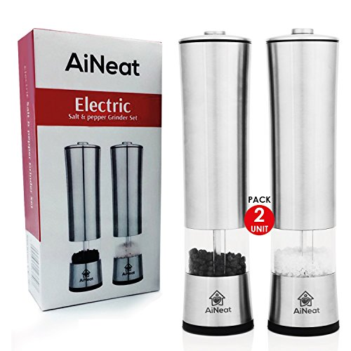 AiNeat Electric Salt and Pepper Grinder Set With LED Light - Heavy Duty Stainless Steel Spice Mill - Adjustable Coarseness