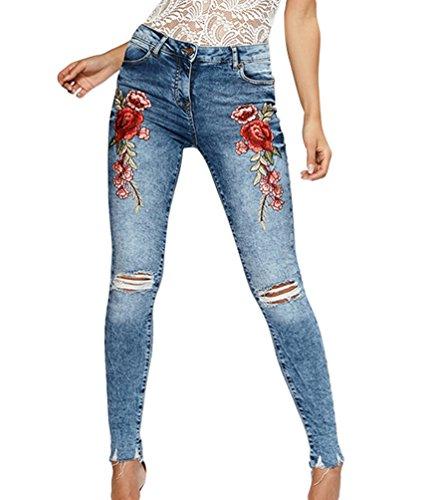 ZKOO Mujer Rose Bordado Vaqueros Flacos Mezclilla Pantalones Jeans Leggings Moda Azul Claro