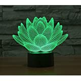 3D Glow LED Night Light Lotus Inspiration 7 Colors Optical Illusion Lamp Touch Sensor for Home Party Festival Decor Great Gift Idea (Lotus)