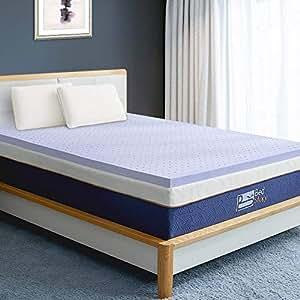 BedStory Memory Foam Mattress Topper Queen, 5CM Lavender Infused Foam Mattress with Microfiber Fitted Cover, Memory Foam Mattress Pad Bed Topper with CertiPUR-US, Ventilated Design
