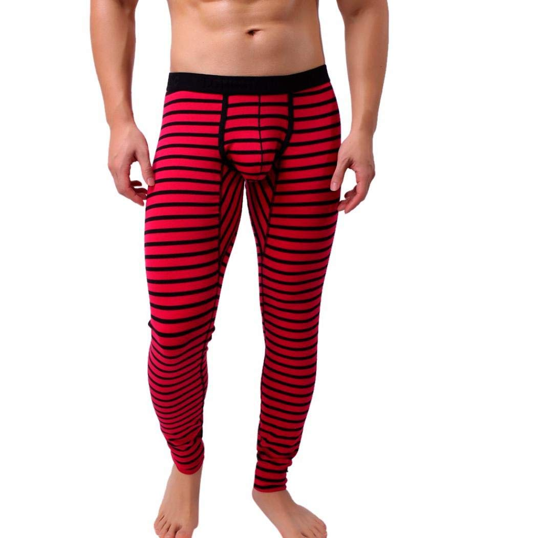BHYDRY Mens Striped Breathe Patchwork Low Rise Leggings Long Johns Thermal Pant