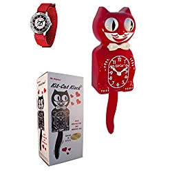 New Classic Scarlet Vintage Kit-Cat Clock Tailgate Wrist Watch Combo Cat Clock with Free Batteries Made in USA Official Dealer