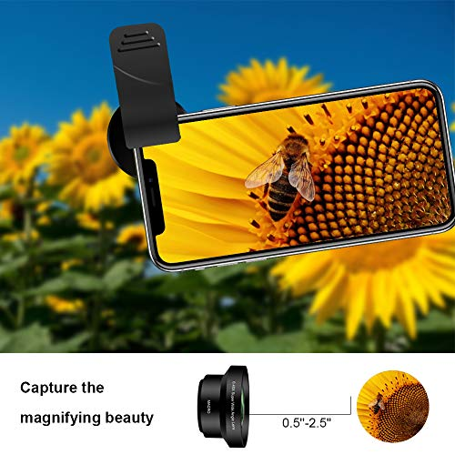 iPhone Camera Lens Kit,ANGFLY Cell Phone Camera Lens 0.45X Wide Angle lens + 15X Macro Lens with Remote Shutter Multi-use Tripod & Phone Holder and Universal Clip,for iPhone,Samgsung,GoPro by ANGFLY (Image #2)